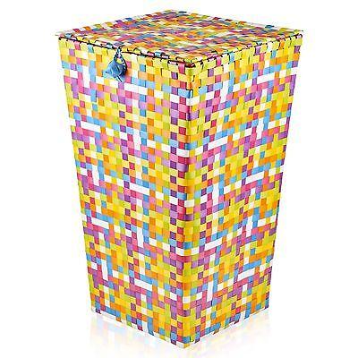Large Rattan Laundry Basket & Lid Woven Multi-Colour Washing Bin Clothes Hamper