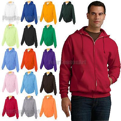 50 Fleece Hooded Sweatshirt - JERZEES Mens Full Zip Hooded Sweatshirt 50/50 Hoodie Fleece Hood S-3XL 993MR-993