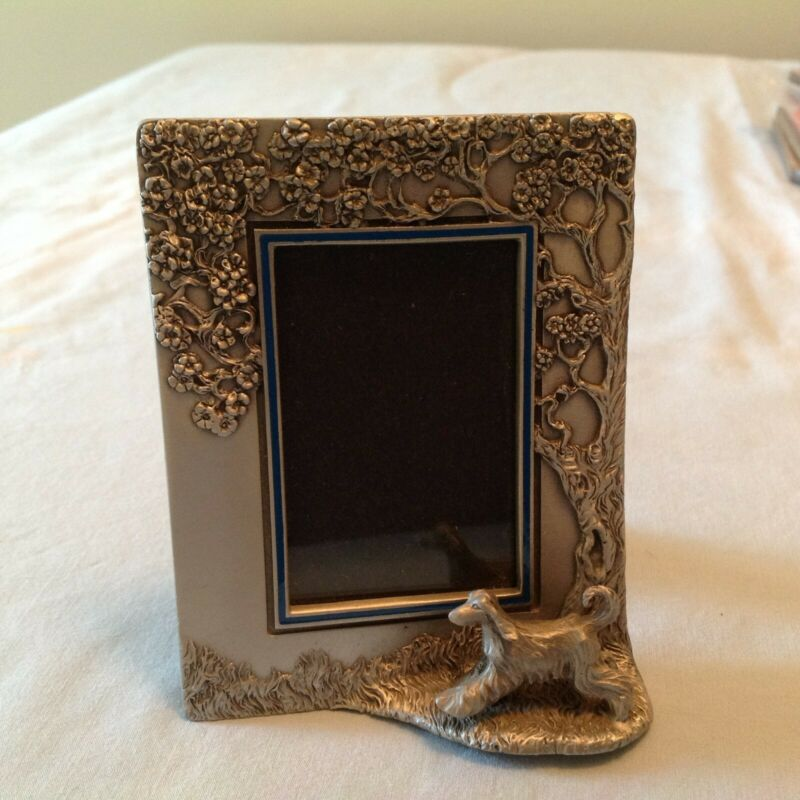 """Afghan Hound pewter picture frame, picture opening 1 3/4"""" X 2 1/2"""""""