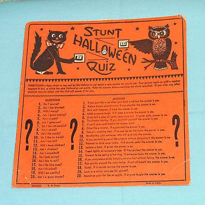 vintage H.E. Luhrs Halloween HALLOWE'EN STUNT QUIZ game