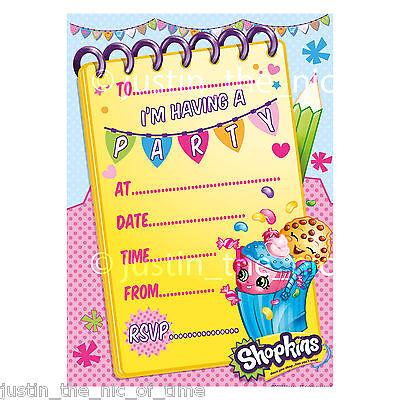 SHOPKINS Childrens Kids Girls Birthday Party Invite, Invitations & Envelopes x20
