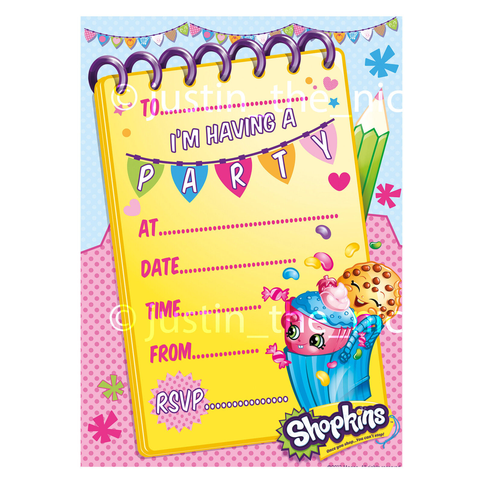 SHOPKINS Childrens Kids Girls Birthday Party Invite, Invitations ...