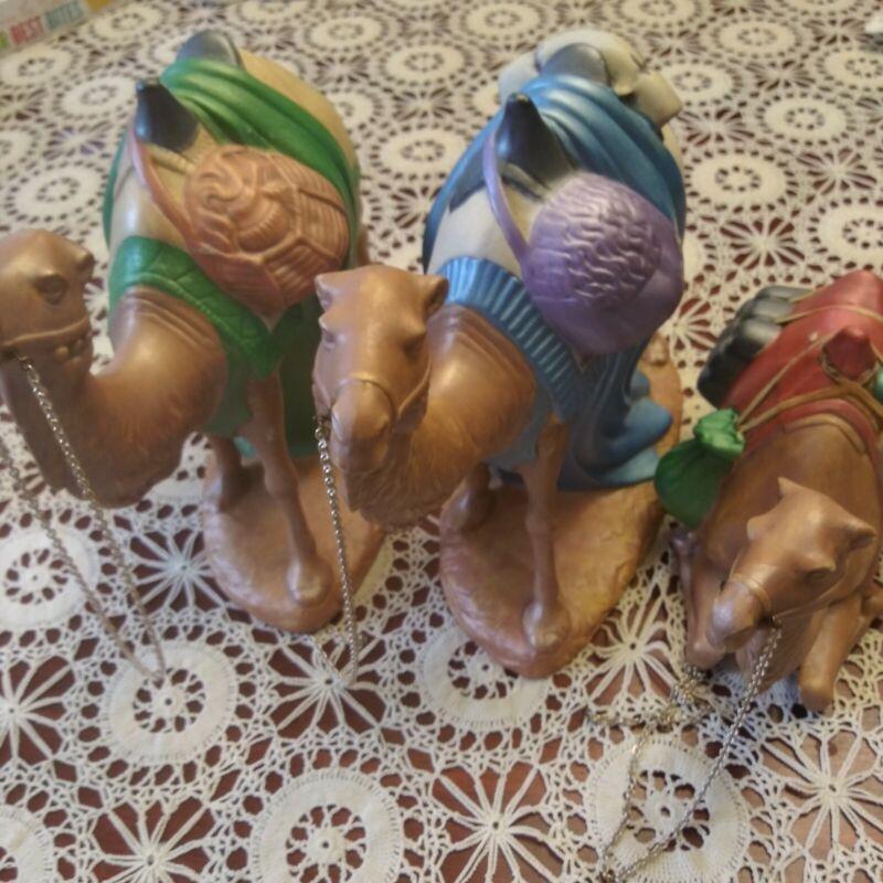 Vintage Stamped Large NATIVITY SET Holland Mold Ceramic 3 CAMELS