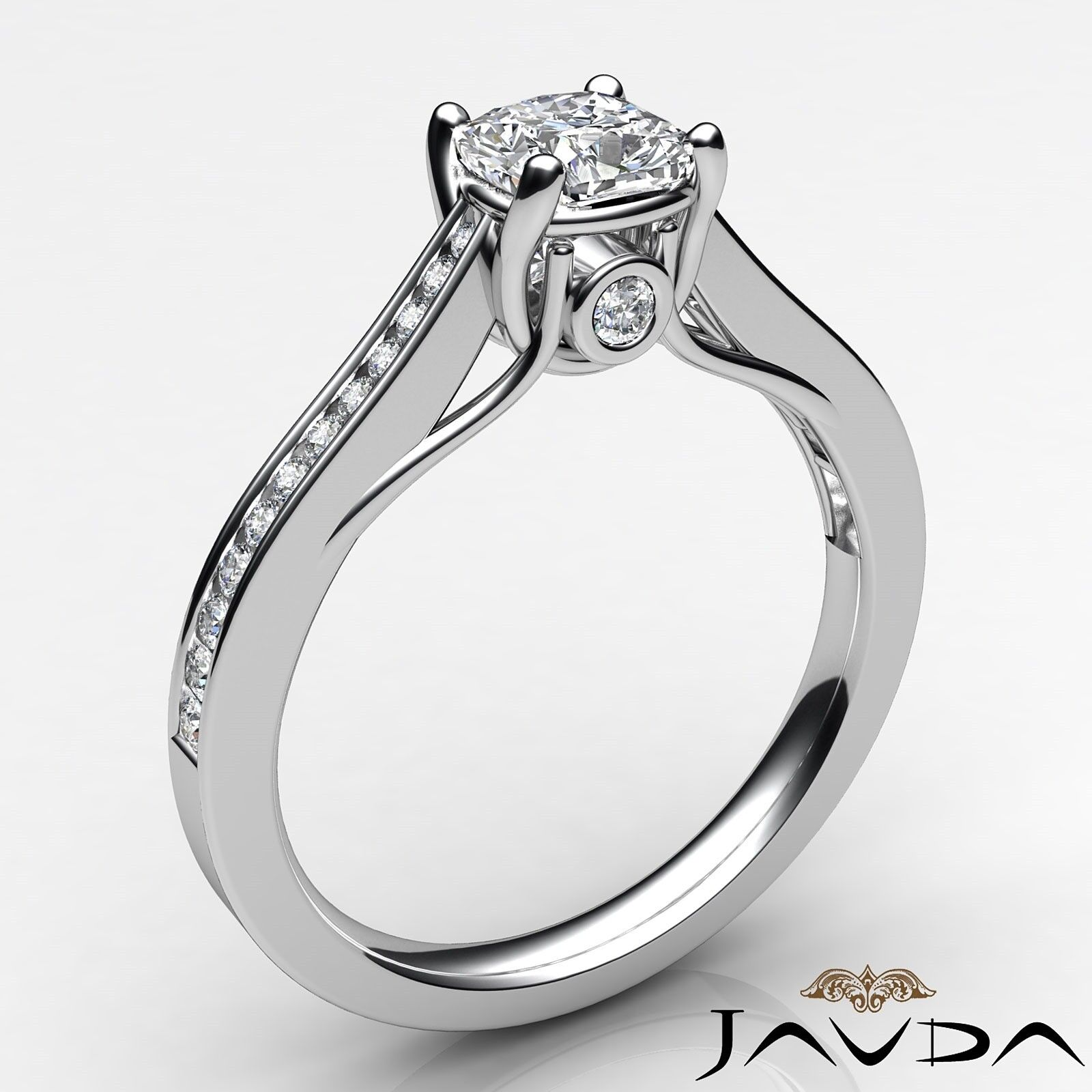 1.2ctw Channel Bezel Prong Set Cushion Diamond Engagement Ring GIA M-SI2 W Gold 1