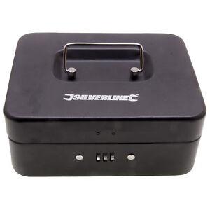 Silverline Keyless Combination Lock Petty Cash Money Box Tin Safe Lockable Boxes