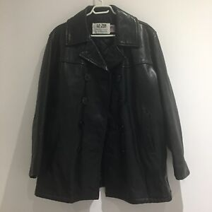 VTG Schott NYC U.S. 740N Leather Pea Jacket
