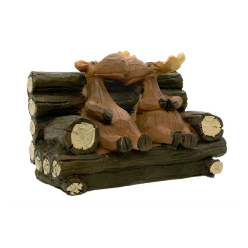 "Cute Mr. and Mrs. Moose sitting on a bench polystone 4"" x 3"""