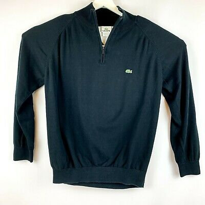 Lacoste Mens Long Sleeve Pullover Black 1/4 Zip Collar Shirt Size L Free Ship