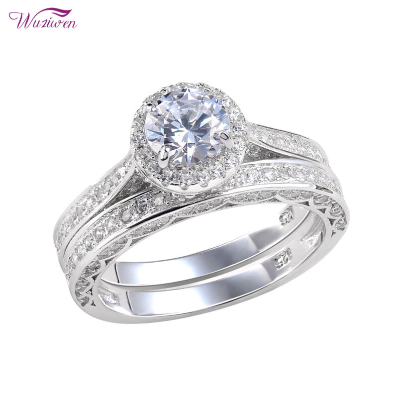 Wuziwen Wedding Engagement Ring Sets For Women 2ct Round Aaaa Cz Sterling Silver