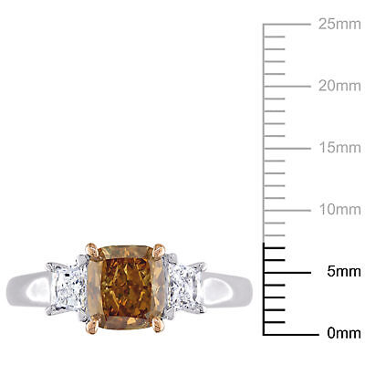 Amour Brown & White Diamond 3-Stone Engagement Ring in 2-Tone 14k Gold 4