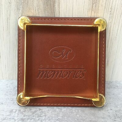 Creative Memories Post It Note Holder Embossed Logo Brown Leather Brass Gold