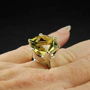 Large Citrine Yellow Quartz Gemstone Cocktail Ring 17.50ct New Farm Brisbane North East Preview