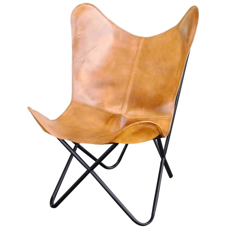AmeriHome BFCLCTN Natural Leather Butterfly Chair in Light Tan