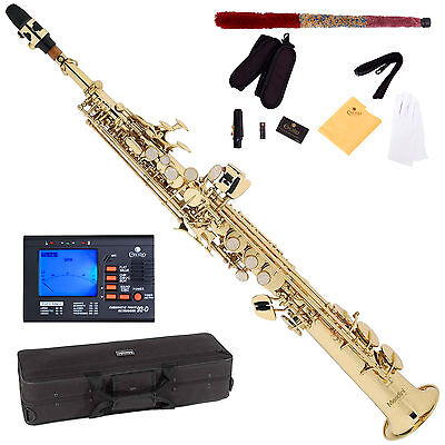 NEW GOLD LACQUER Bb SOPRANO SAXOPHONE SAX PACK + TUNER on Rummage