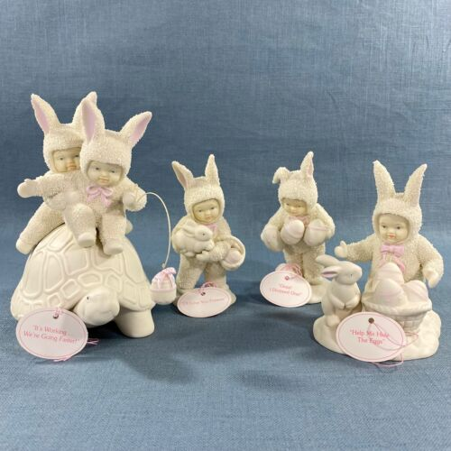 Dept 56 Springtime Stories of the Snowbunnies Vintage Figurines Lot of 4 w/boxes
