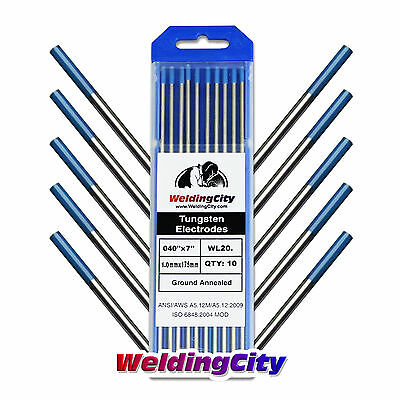 10-pk Tig Welding Tungsten Electrode 2 Lanthanated Blue .040x7 Us Seller Fast