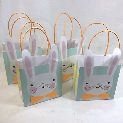 4 Small Paper Easter Bunny With Bow Tie Gift Bags Reusable](Easter Gift Bags)