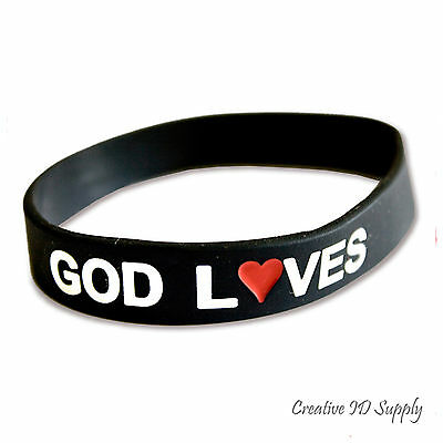 GOD LOVES DEBOSSED SILICONE WRISTBAND | USA SHIPPING | RUBBER BRACELET NEW