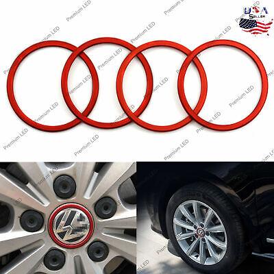 4pcs Red Car Wheel Center Logo Decoration Ring Cover For VW VOLKSWAGEN Tiguan L