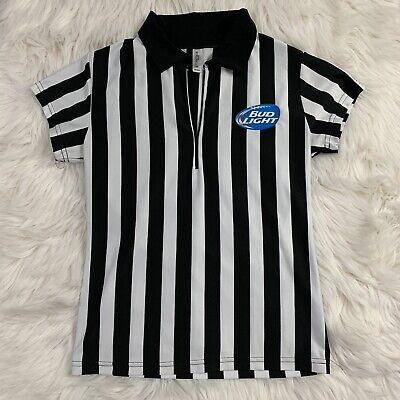 Black And White Striped Shirt Halloween Costume (Women's Bud Light Referee Sexy Shirt M Halloween Costume Black/White)
