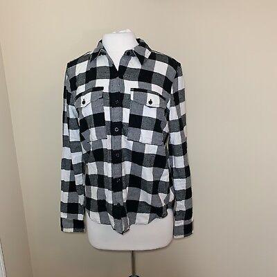 (Forever 21 Womens Shirt Flannel Plaid Check Button Front Black White M Medium )