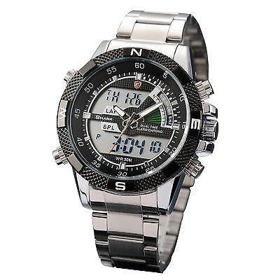 Men's Black Dial SHARK Dual Time Date Day Alarm Analog Digital Steel Sport Watch