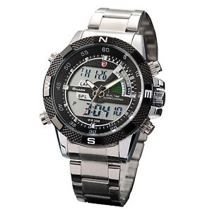 Mens-Black-Dial-SHARK-Dual-Time-Date-Day-Alarm-Analog-Digital-Steel-Sport-Watch