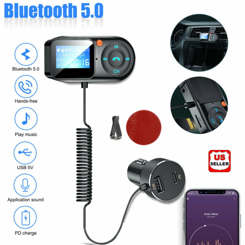 Bluetooth Car FM Transmitter Wireless MP3 Radio Adapter 2 USB charger Hands-Free