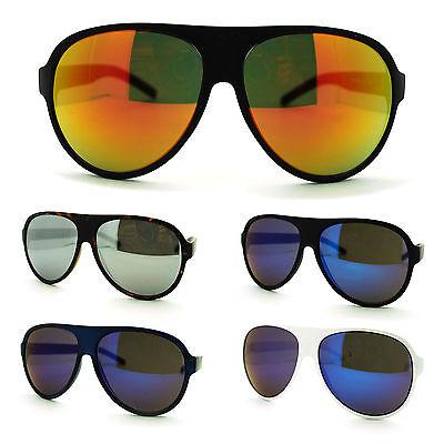 Mens Retro Classic Plastic Frame Mirror Lens Aviator Police Cop Pilot (Police Mirrored Sunglasses)