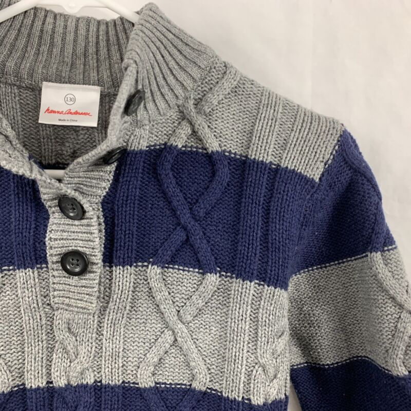 Hanna Andersson Boys 130 Blue Grey Sweater Cable Knit 1/4 Button Mock Neck Euc