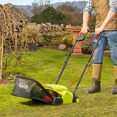 Garden Gear Electric Lawn Raker Moss Remover 400W Adjustable Work Height 20L Bag
