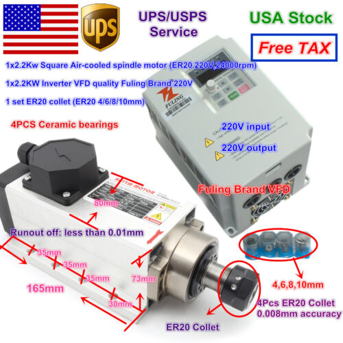【US】 CNC Square 2.2KW Air Cooled Spindle Motor ER20+Fuling VFD Inverter+Collet