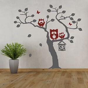 Autocollant mural arbre avec trio de hibou paul emil for Autocollant mural arbre