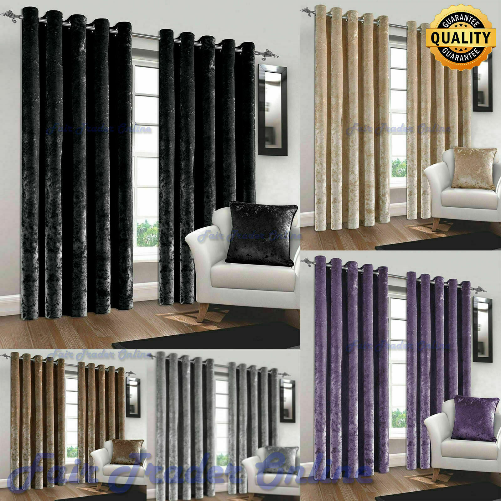 Luxury Crushed Velvet Curtains Pair Thick Ready Made Fully Lined Eyelet Ring Top