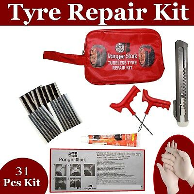 Emergency Car Van Motorcycle Tubeless Tyre Puncture Repair Kit 31 Pieces
