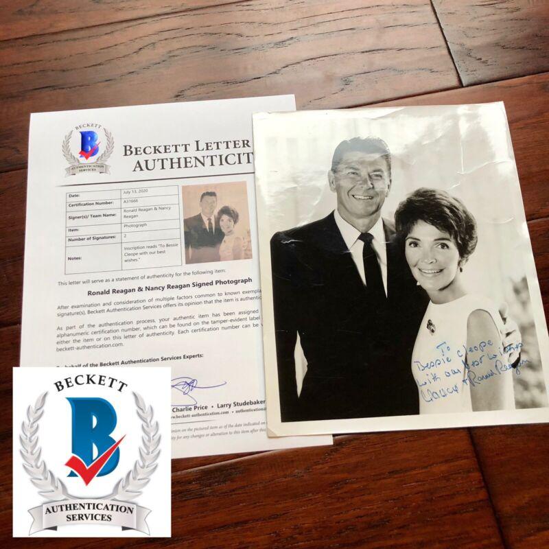 RONALD & NANCY REAGAN * BAS Beckett * Autograph Inscribed Signed Photo