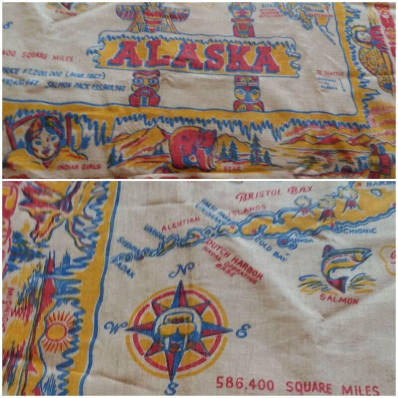 NICE VINTAGE  ALASKA Cactus Cloth Table Cloth Wall Hanging 47x54 COLORFUL  ♡