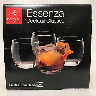 Bormioli Rocco Essenza 12.5 oz Cocktail Glasses Made in ITALY Set of 4 NEW