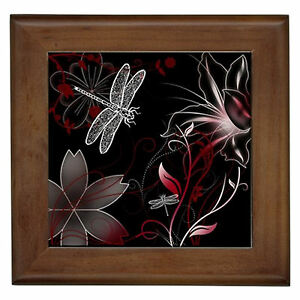White dragonfly red floral framed bathroom ensuite wall for Red bathroom wall decor