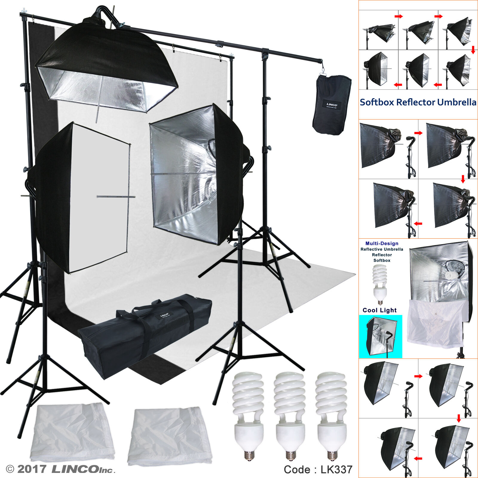 Linco Lincostore Studio Lighting 3 Point Light Backdrop Back