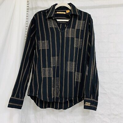 The Havanera Co. Men's L Shirt Pullover Black  Brown Striped Embroidered #R