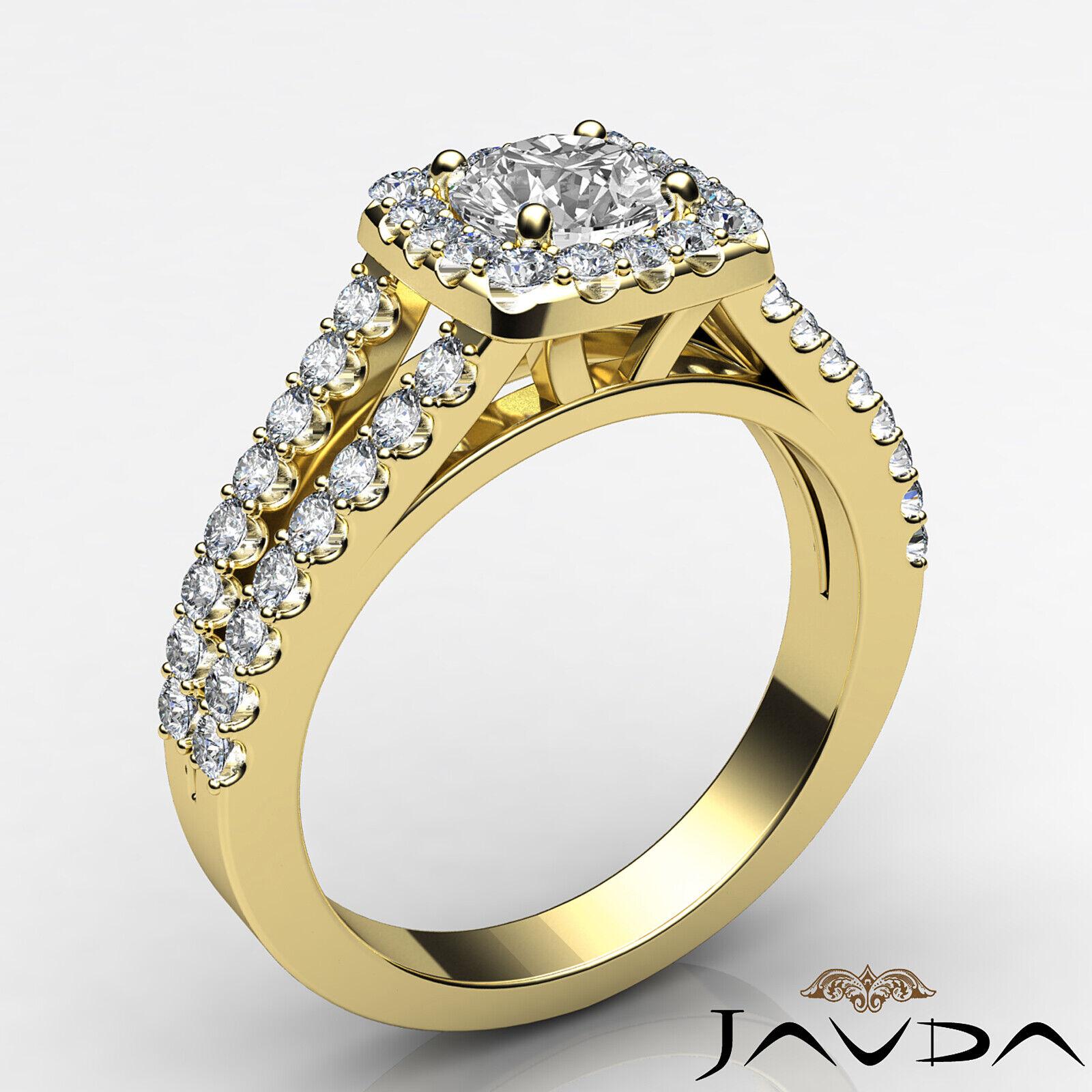 Round Diamond Engagement Halo Split Shank Ring GIA E VVS1 14k White Gold 1 1/4ct 3
