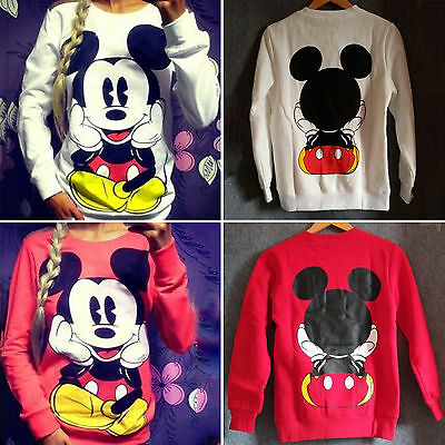 Damen Mickey Mouse Pullover Sweatshirt Top Langarm Sweats Sweater Pulli Oberteil