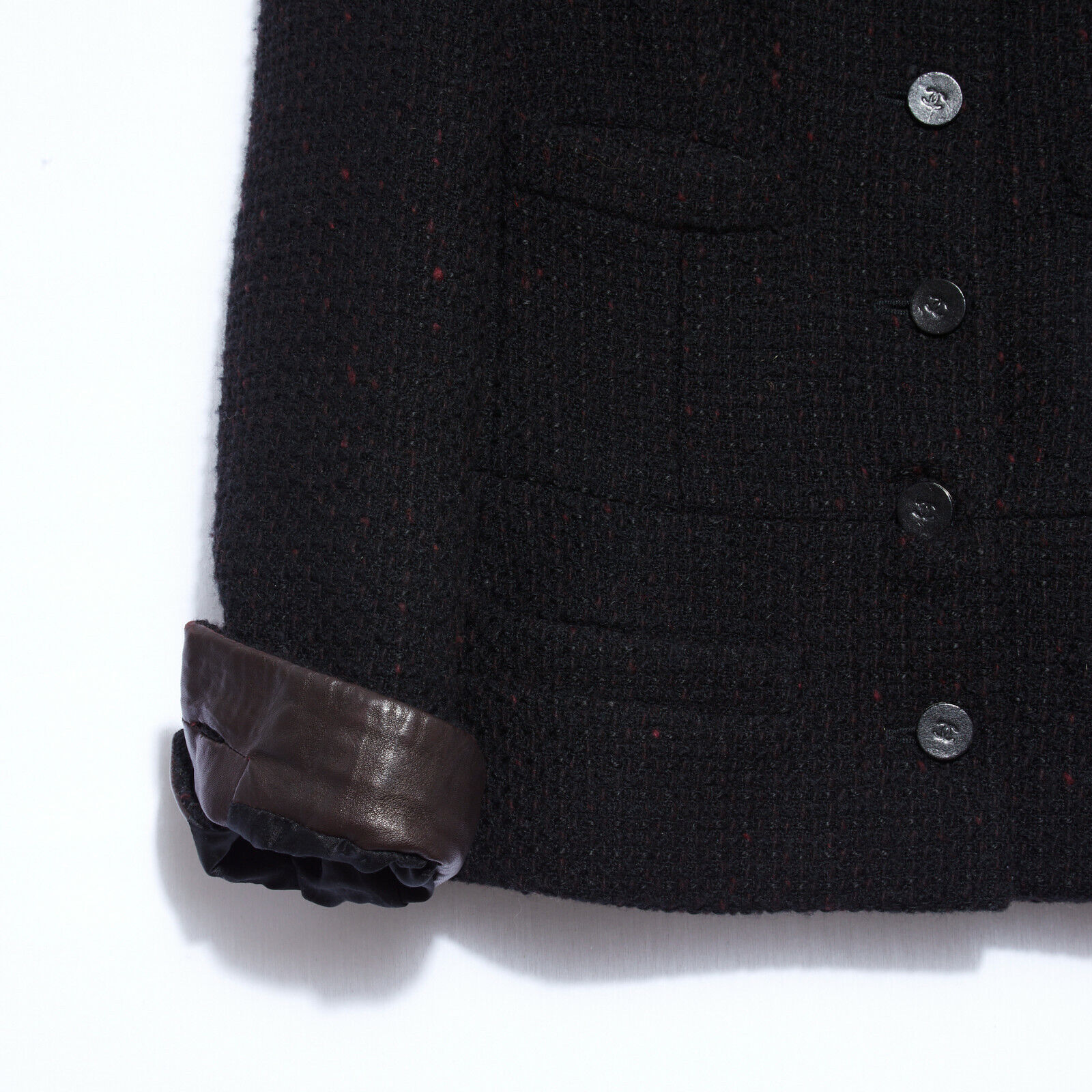 Chanel veste jacket classique black tweed fr40
