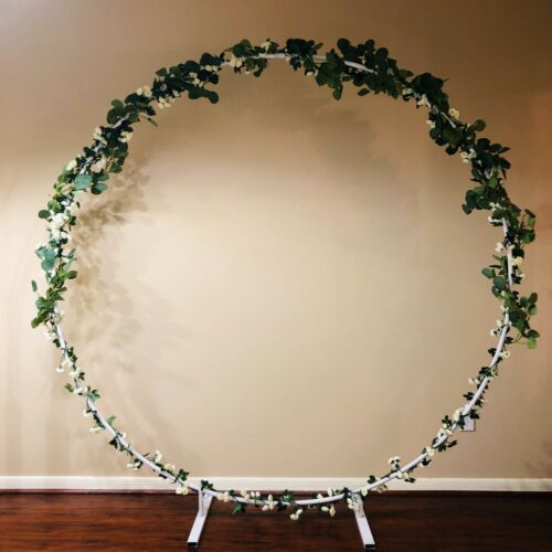 CLEARANCE 7ft white Circle Metal Wreath Backdrop Stand Wedding Party Decoration