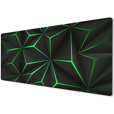90 X 40cm Extra Large Mouse Mat Pad Gaming Pc Geometric Black Neon Green