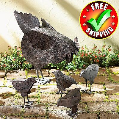 Metal Garden Sculpture Set Bird Outdoor Patio Decor Decoration Chicken Statues