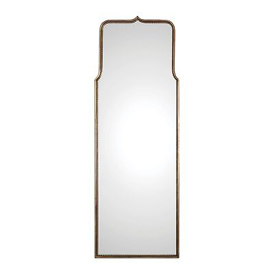 """Tall Gold Curved Arch Full Length Wall Mirror 