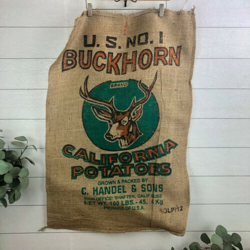 Vintage Buckhorn CA Potatoes Burlap Gunny Sack Bag 100 Lbs New Old Stock