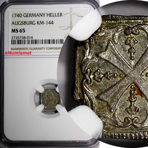 German States AUGSBURG Silver 1740 Heller NGC MS65 TOP GRADED BY NGC KM# 144.1